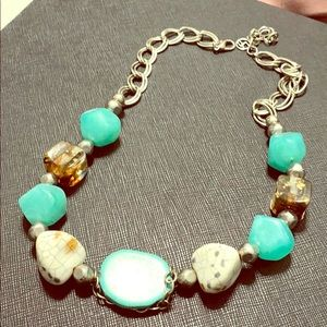 Gorgeous teal and silver necklace!